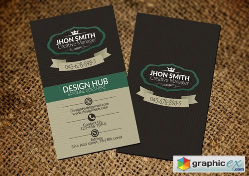 Vertical Retro Vintage Business Card - 324704