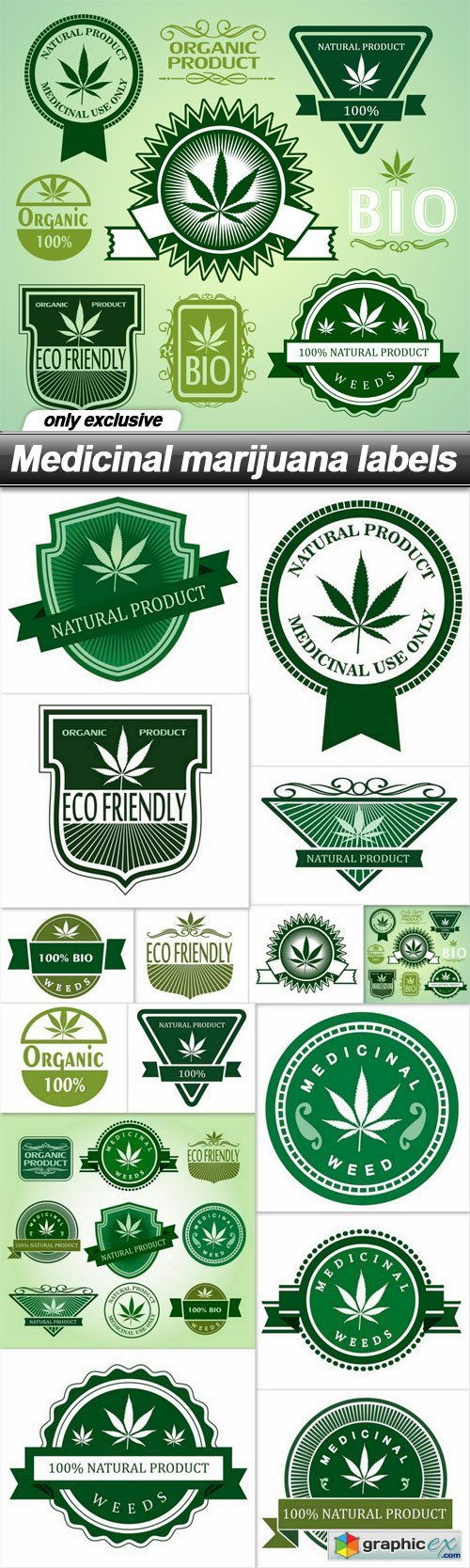 Medicinal marijuana labels - 15 EPS