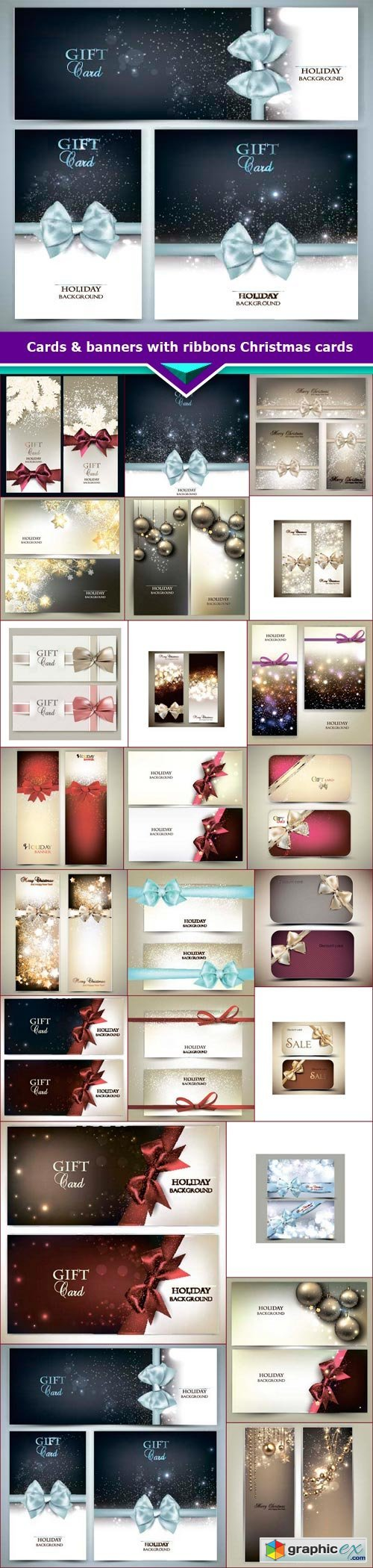 Cards & banners with ribbons Christmas cards 24x EPS