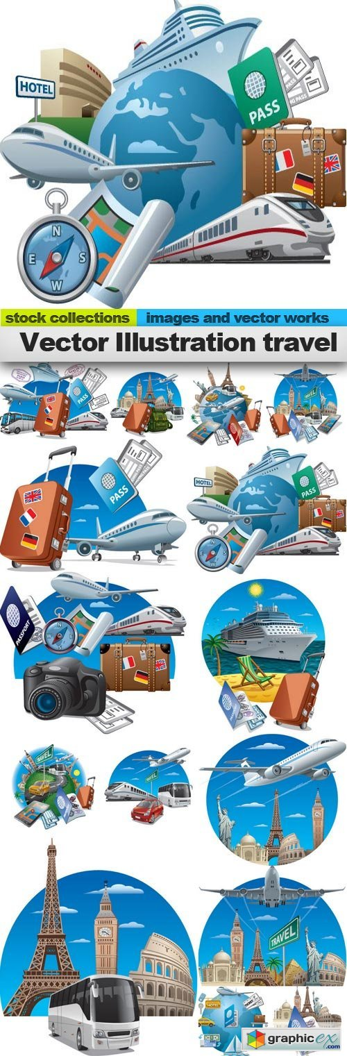 Vector Illustration travel, 15 x EPS