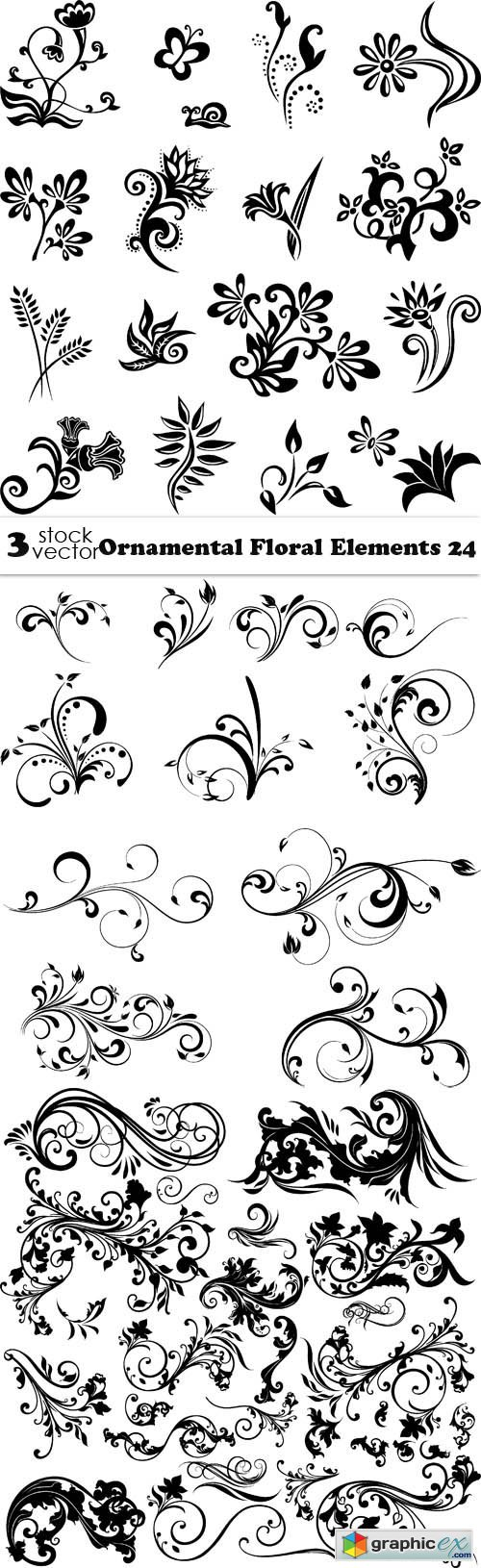 Vectors - Ornamental Floral Elements 24