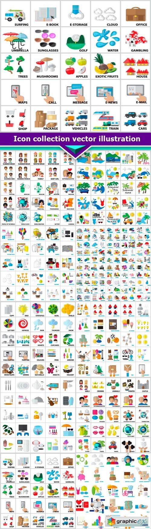 Icon collection vector illustration 10x EPS