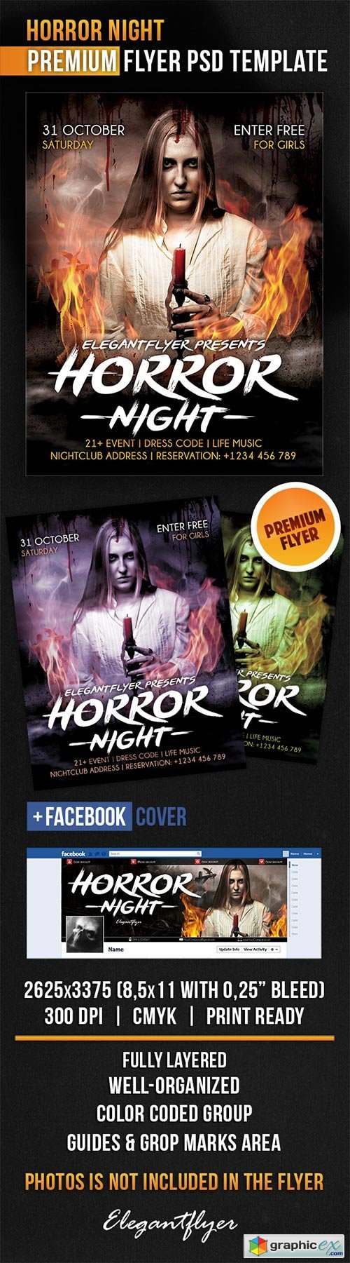 Horror Night Flyer PSD Template + Facebook Cover