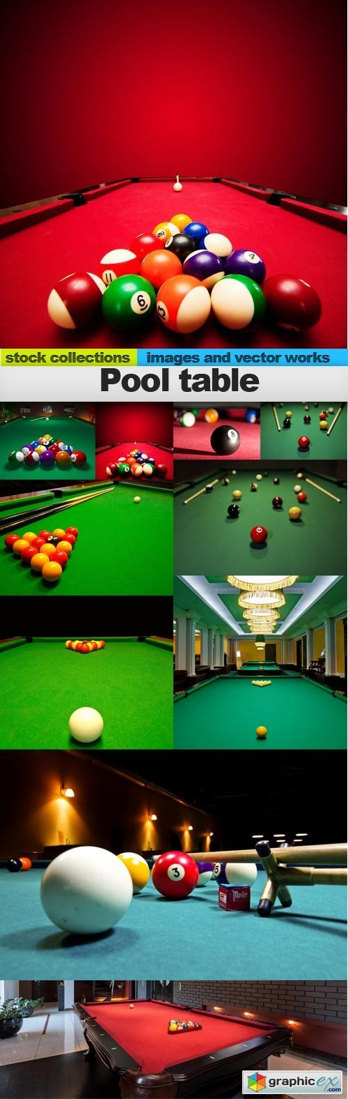 Pool table, 10 x UHQ JPEG