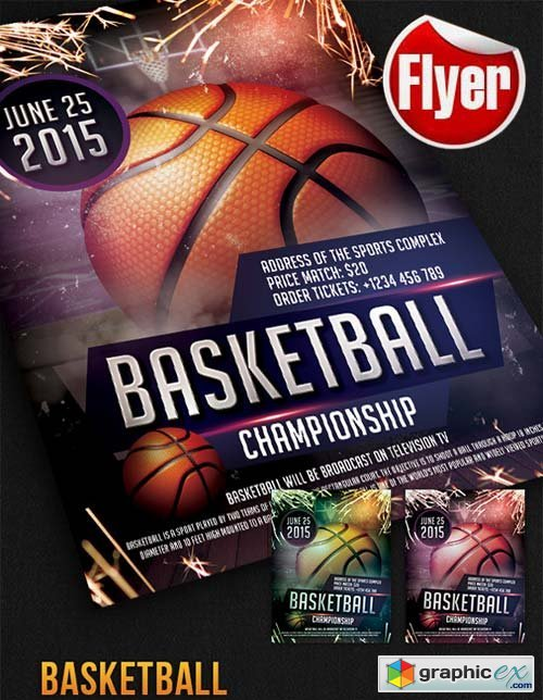 Basketball - Free Flyer PSD Template + Facebook Cover