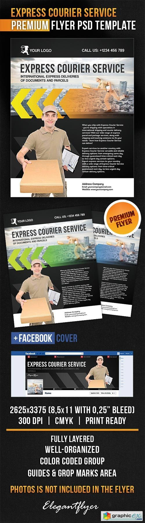 Express Courier Service Flyer PSD Template + Facebook Cover