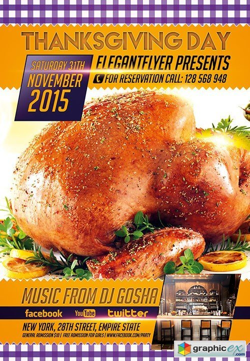 Thanksgiving Day 4 Flyer PSD Template + Facebook Cover