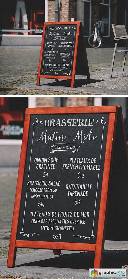 PSD Mock-Up - A-Frame Chalkboard Menu