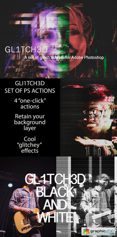 Glitched Set of Photoshop Actions