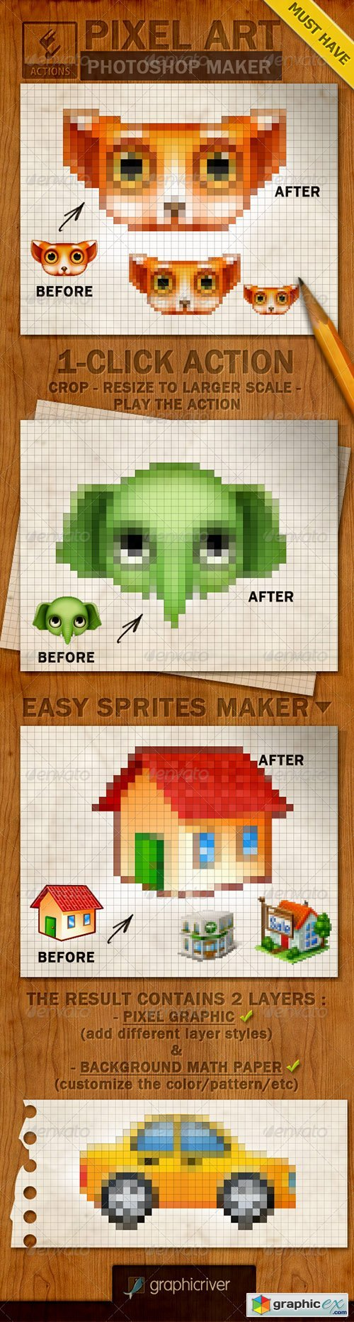 Pixel Art Creator Photoshop Action