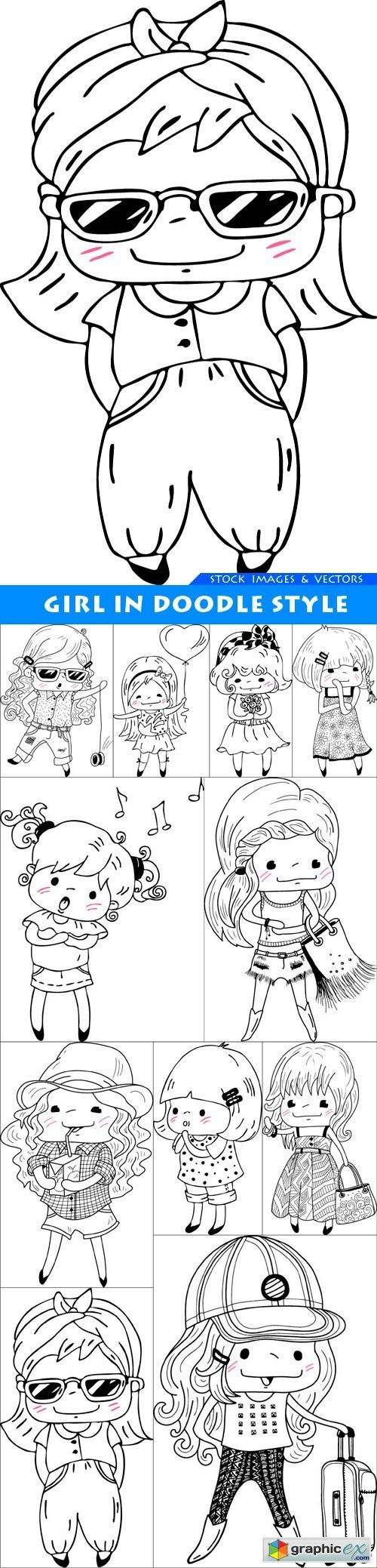 Girl in doodle style 11X EPS