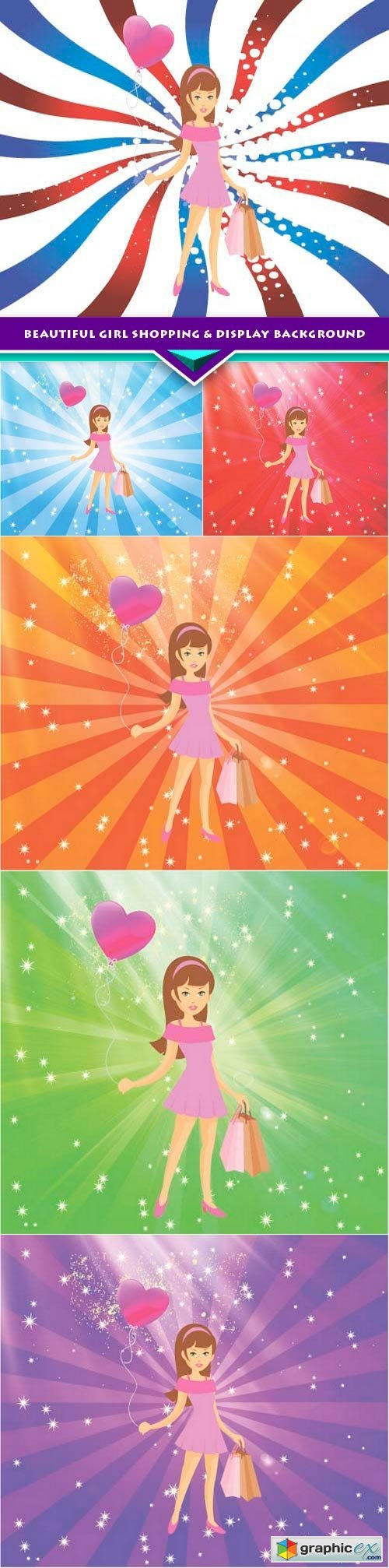 Beautiful Girl Shopping & Display Background 6x EPS