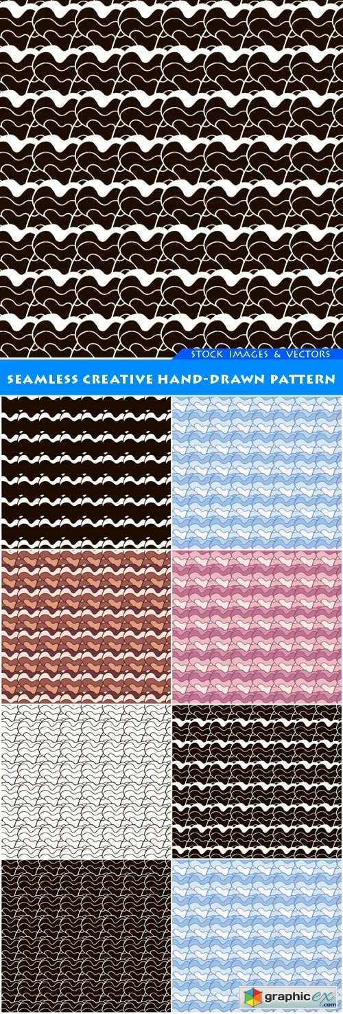 Seamless creative hand-drawn pattern 8X EPS