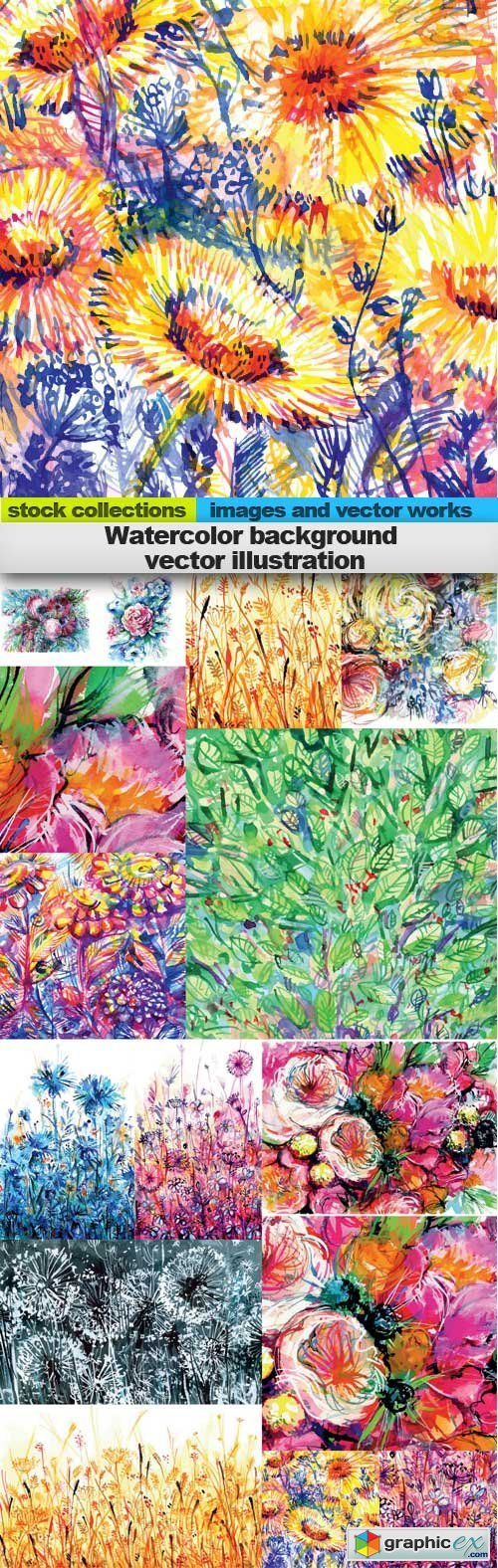 Watercolor background vector illustration, 15 x EPS
