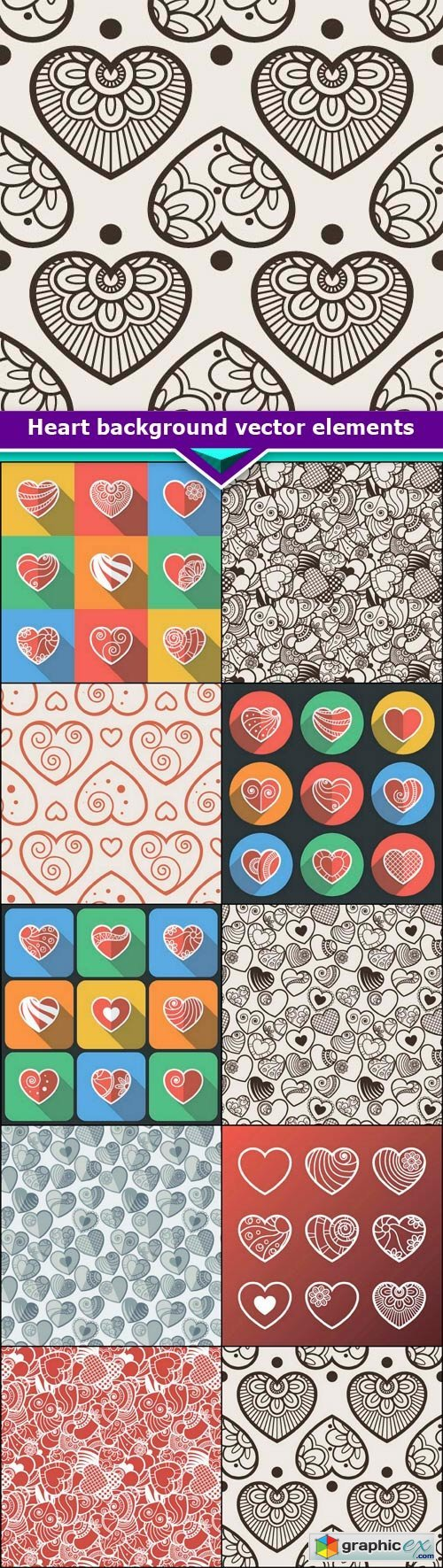 Heart background vector elements 10x EPS
