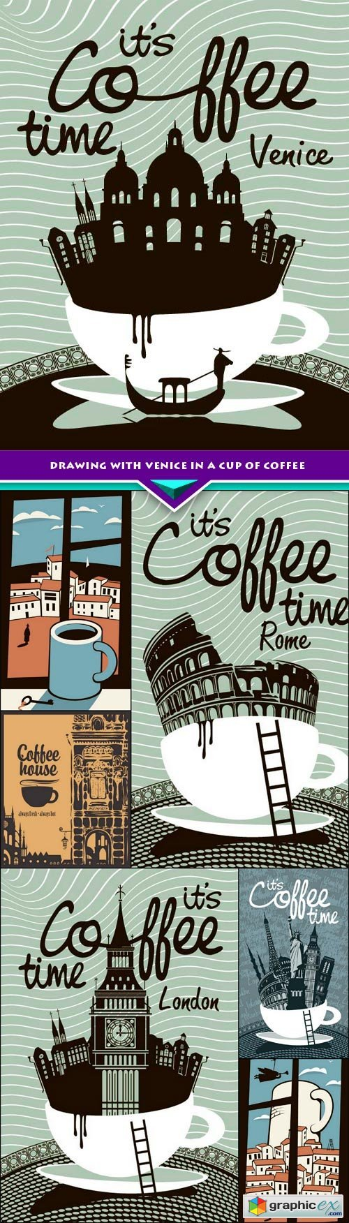 Drawing with Venice in a cup of coffee 7x EPS