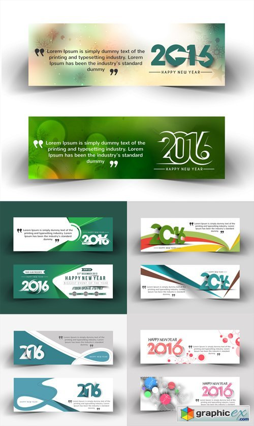 Happy New Year Banners Vector Set