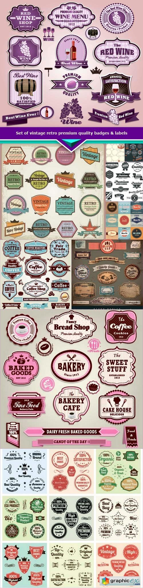 Set of vintage retro premium quality badges & labels 10x EPS
