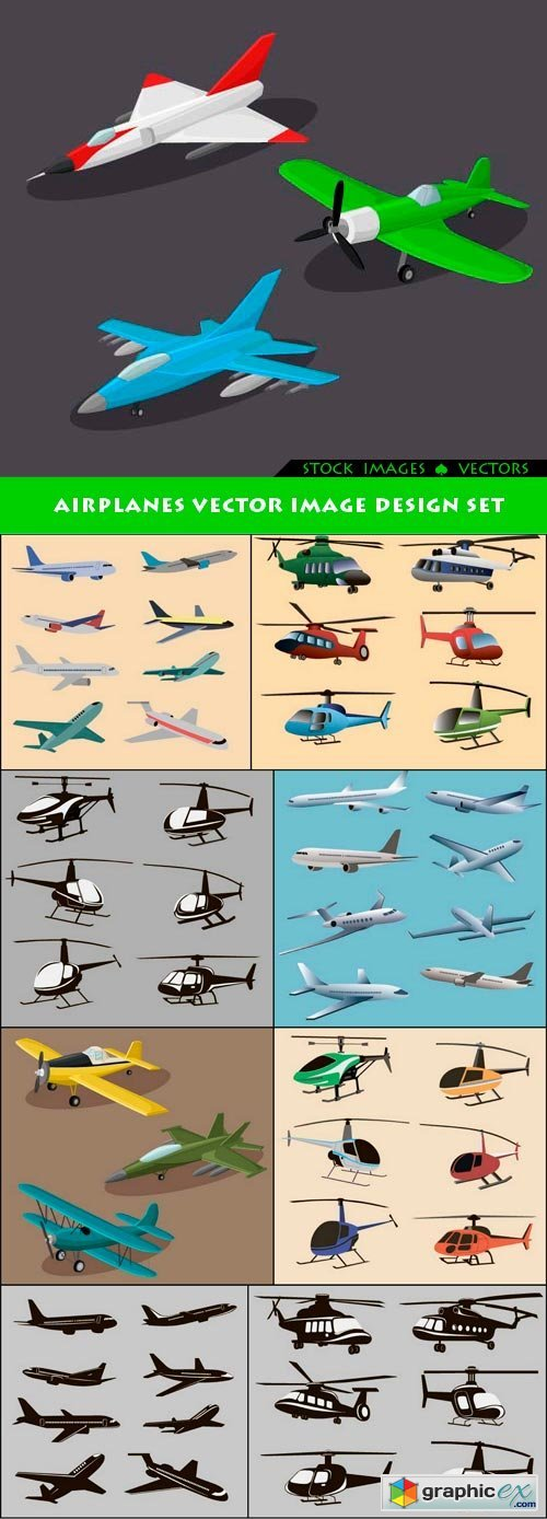 Airplanes vector image design set 9x EPS