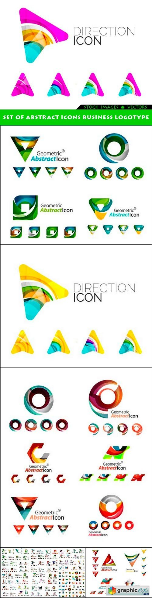 Set of abstract icons business logotype 6x EPS