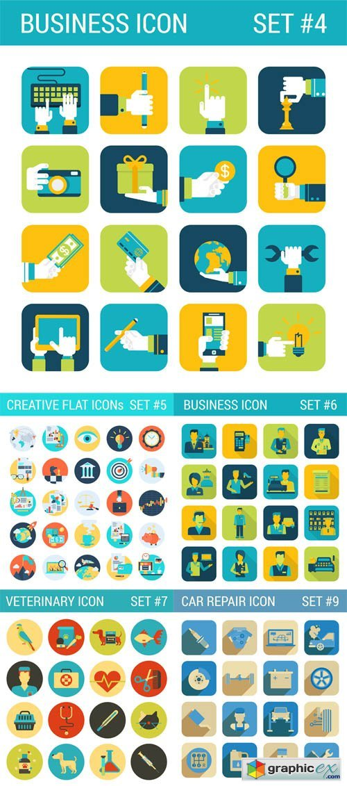 Creative, Business, Car Repear, Veterinary, Flat Icons Set
