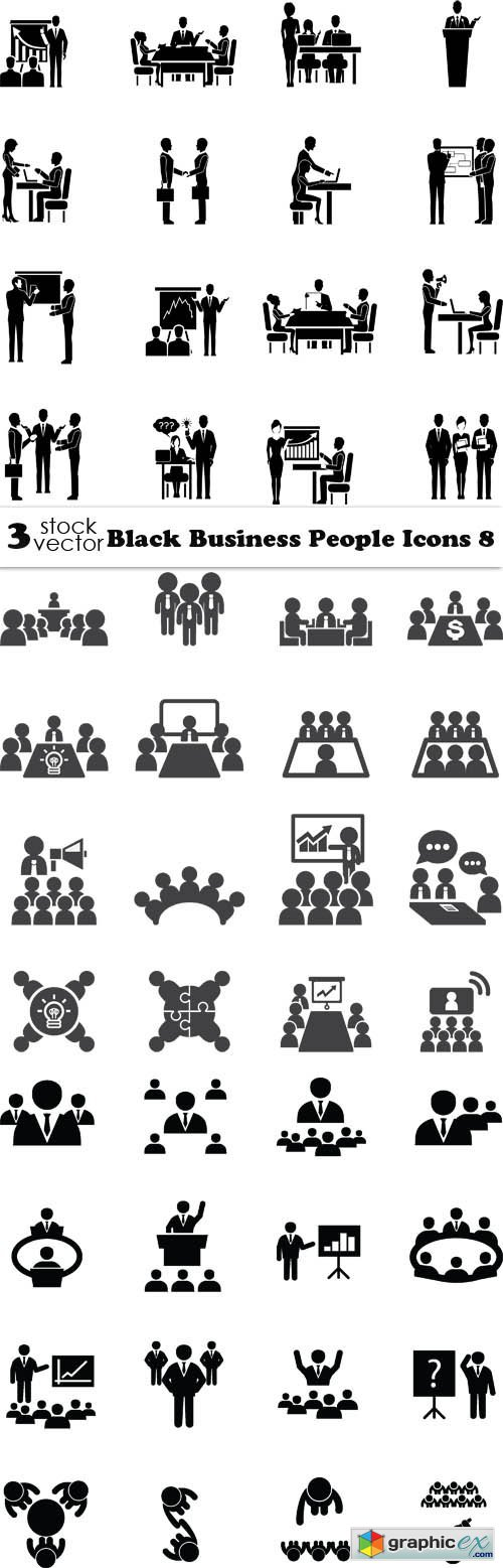 Vectors - Black Business People Icons 8