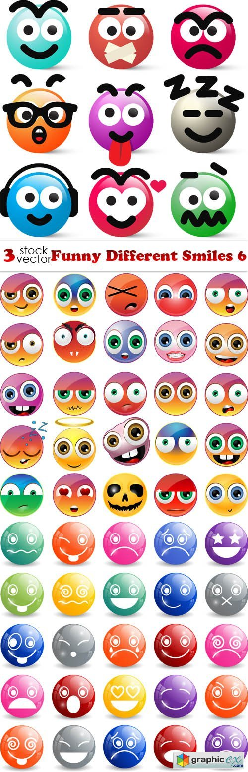 Vectors - Funny Different Smiles 6