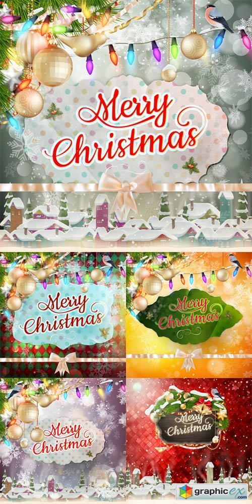 5 Christmas Cards Vector Set