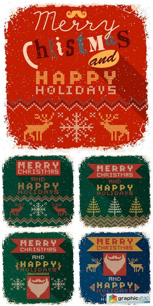 Knitted Christmas Cards Vector Set
