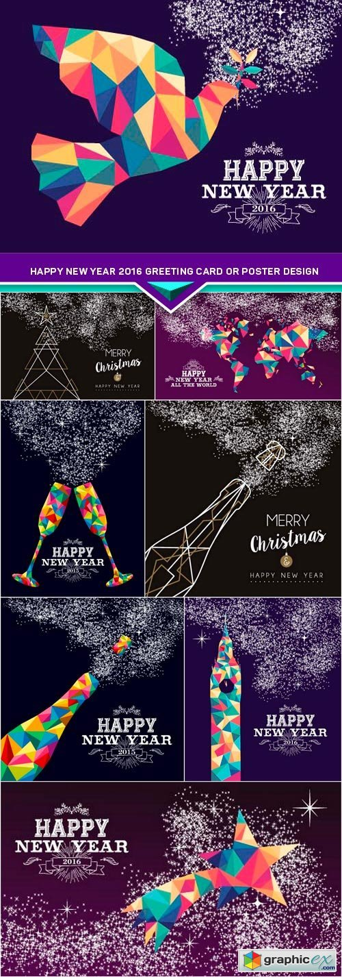 Happy new year 2016 greeting card or poster design 8x EPS