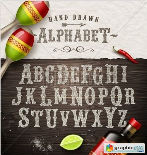 Vector hand drawn vintage alphabet - old mexican signboard style font