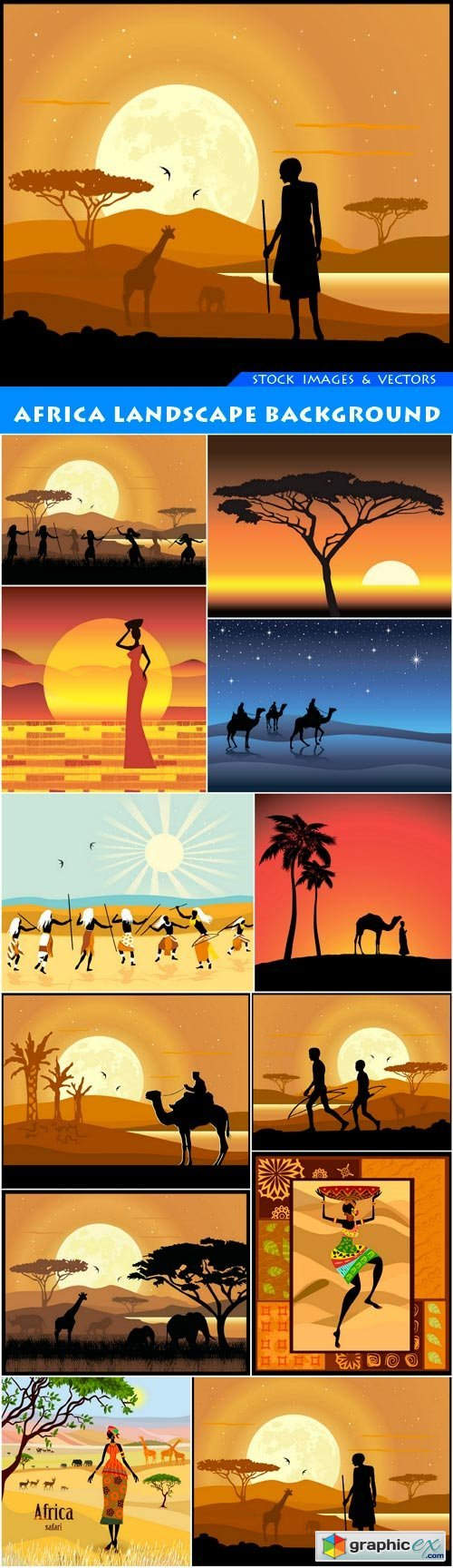 Africa landscape background 12X EPS