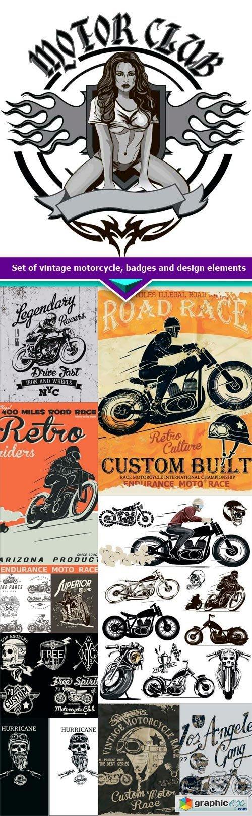 Set of vintage motorcycle, badges and design elements 11X JPEG