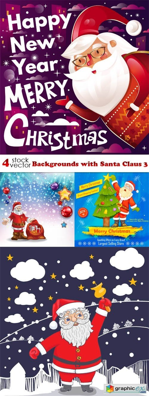 Vectors - Backgrounds with Santa Claus 3