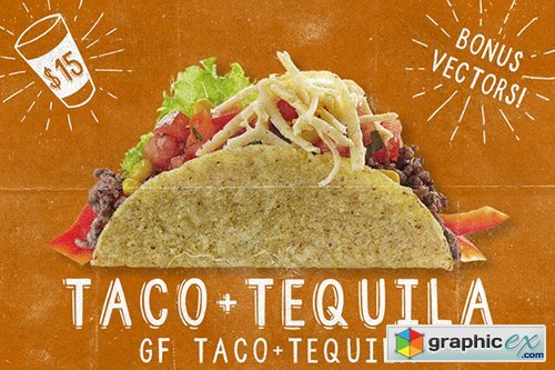 Taco+Tequila, 2 Fonts + Extras! 57200