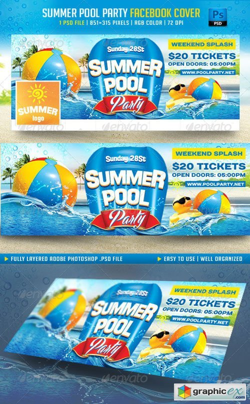 Summer Pool Party Facebook Cover » Free Download Vector