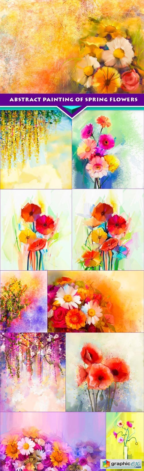 Abstract painting of spring flowers Hand-painted Still Life 11x JPEG