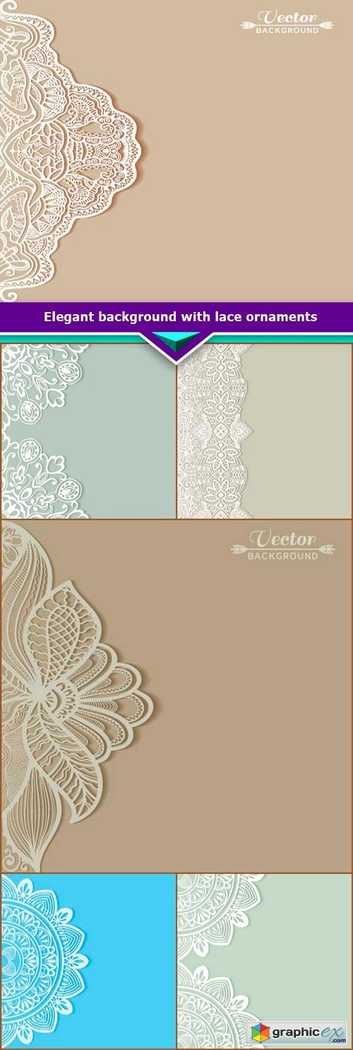 Elegant background with lace ornaments 6x EPS