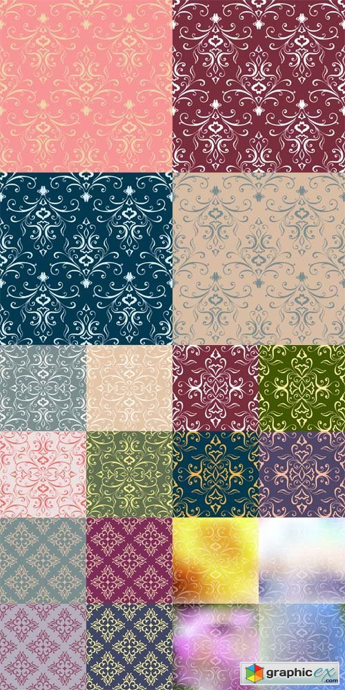 Set of Colorful Floral Patterns