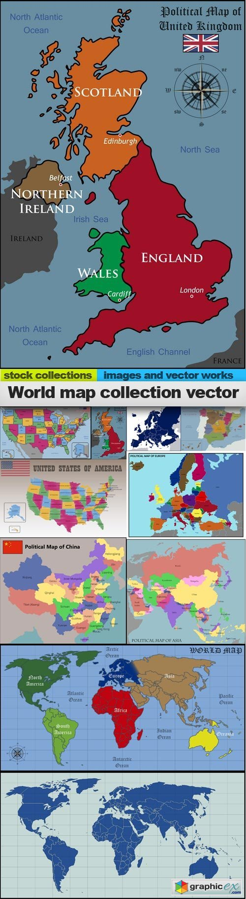 World map collection vector, 10 x EPS