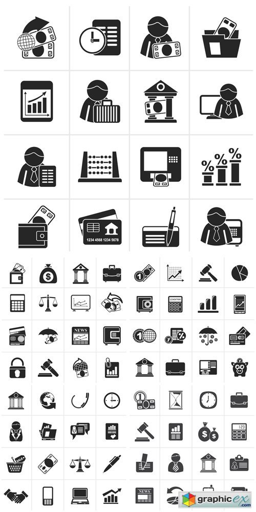 Black Bank and Finance Icons Vector Set