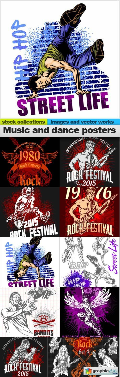 Music and dance posters vector, 10 x EPS