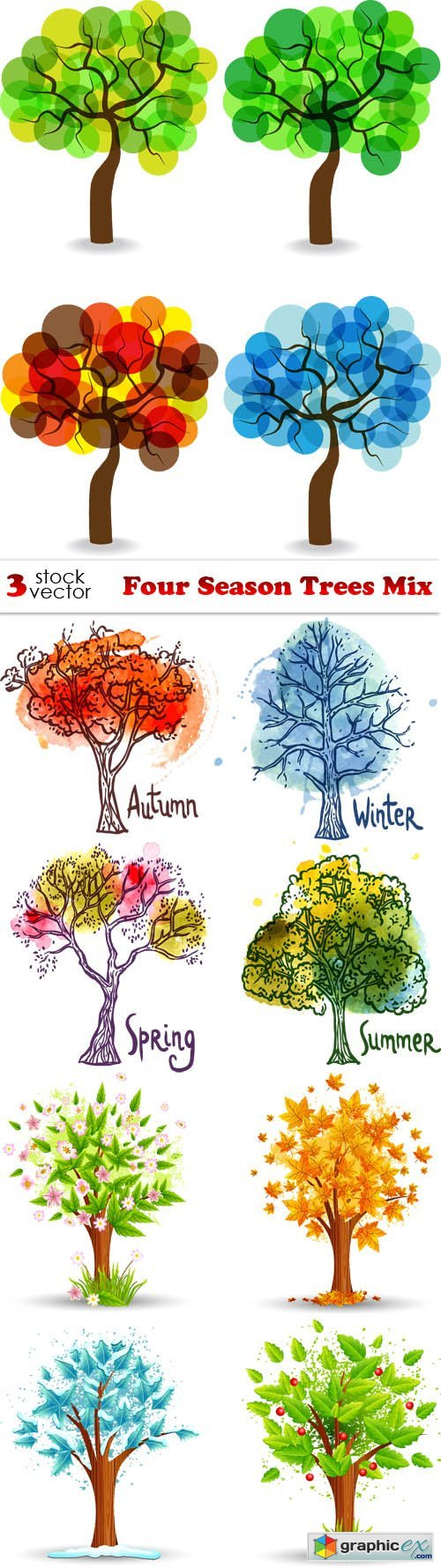 Vectors - Four Season Trees Mix