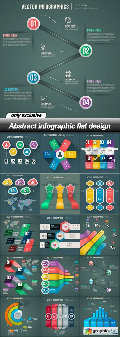 Abstract infographic flat design - 15 EPS