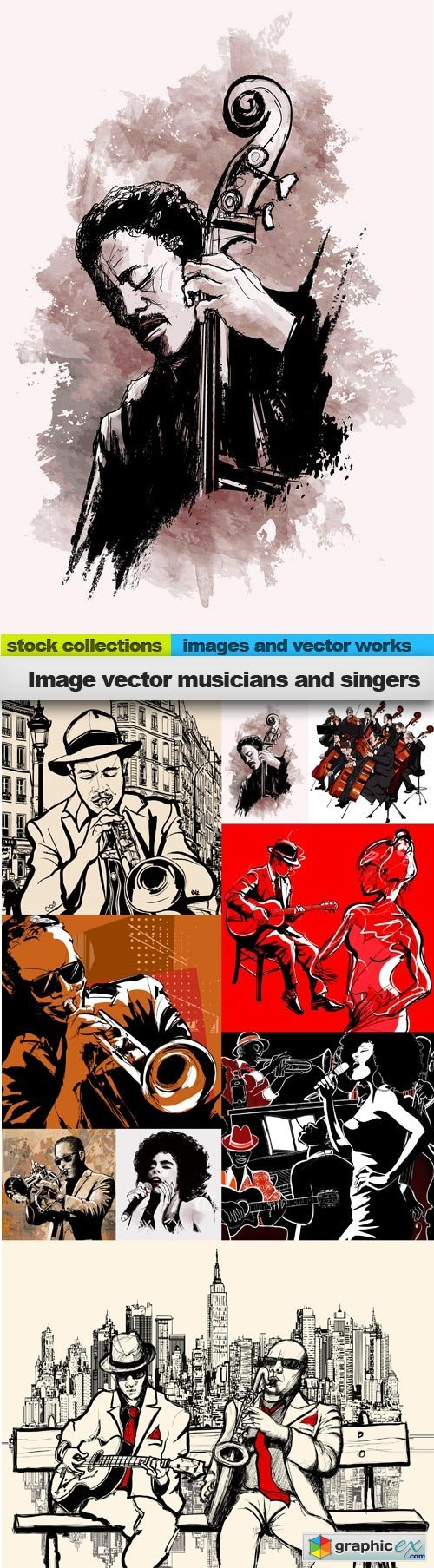 Image vector musicians and singers, 10 x EPS