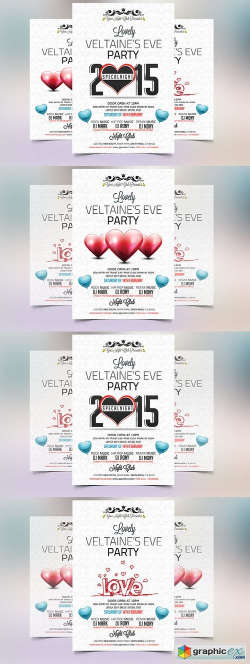 Valentines Eve 2015 Party Flyer