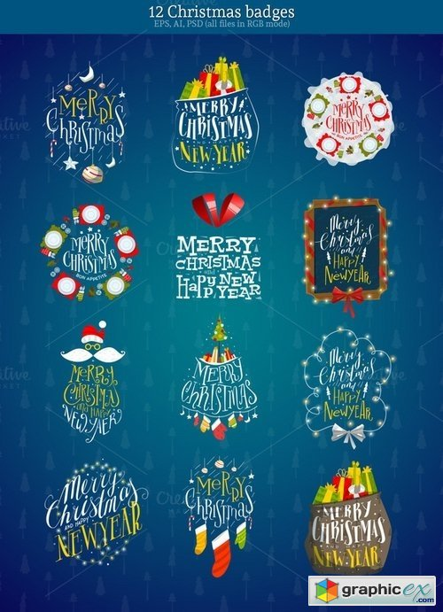 12 Christmas badges