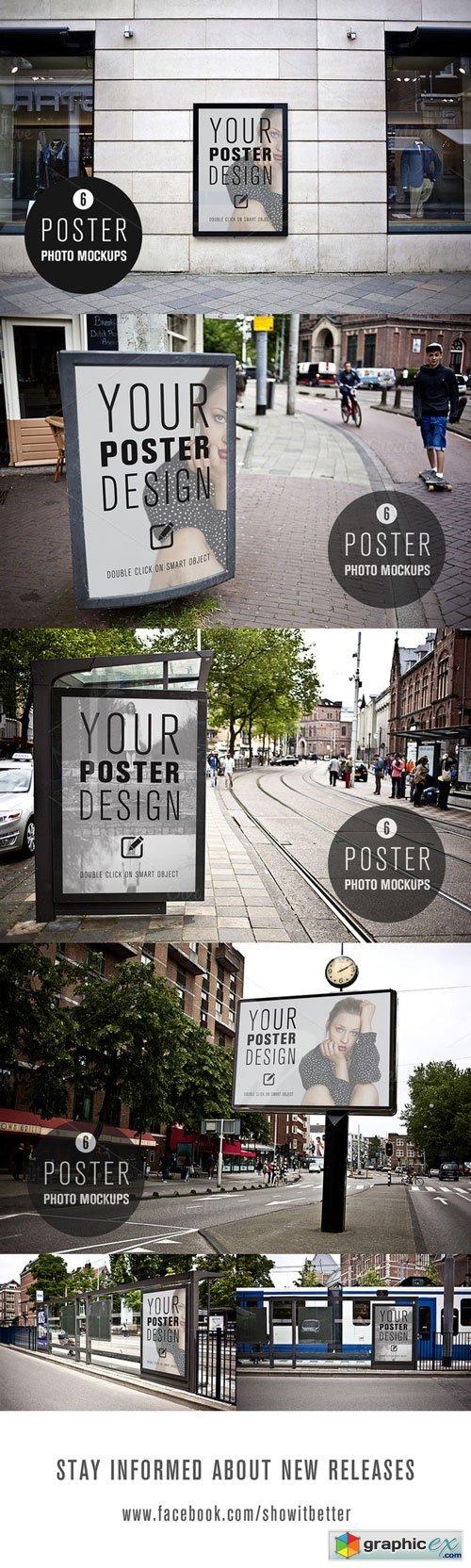 6 poster design photo mockups 57079 - 6 Poster Design Photo Mockups