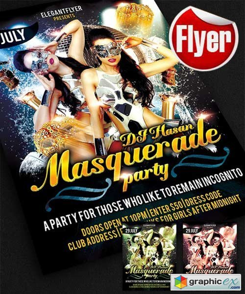 Masquerade Flyer Template + Facebook Cover