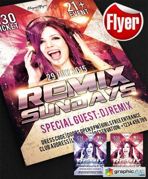 Remix Sundays Flyer Template + Facebook Cover